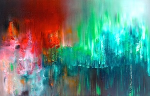 "LAUREL HOLLOMAN ""Red Rain"" - 48x72 - Oil on Canvas - Collection Coeur Libre 2012"